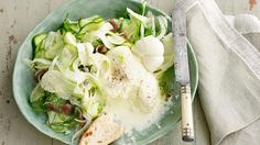 Australian Gourmet Traveller recipe for shaved zucchini, fennel and mint salad with burrata. Grilled Vegetable Salads, Grilled Vegetables, Fennel Salad, Asparagus Salad, Mint Salad, Avocado Salad, Ciabatta, Ratatouille, Mozzarella
