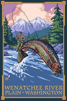 Plain, Washington - Angler Fly Fishing Scene (Leaping Trout) -  Lantern Press Poster