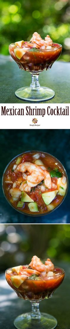 Mexican Shrimp Cocktail ~ A classic shrimp cocktail with shrimp, tomatoes, hot sauce, celery, onion, cucumber and avocados. Great appetizer for entertaining and so easy! On SimplyRecipes.com