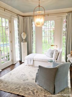 Gorgeous serene light blue and cream sitting room off bedroom in Southeastern Designer Showhouse Atlanta 2017