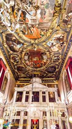 Ornate ceiling and iconostasis at Saint Spyridon Church, Kerkyra, Corfu, Greece