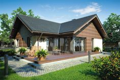 Parterowy dom z przestronnym tarasem i garażem - Studio Atrium Style At Home, Exterior Paint Colors For House, Craftsman Style Homes, Architect House, Facade House, Small House Plans, Cool Rooms, Home Fashion, Home Plans