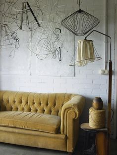 DIY: Lampshade Frames as Décor Love the couch