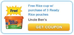 FREE Rice Cup w/ Purchase of 3 Ready Rice Pouches Coupon on http://www.icravefreebies.com