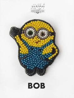 A special gift for a friend - a bead embroidered minion brooch It's on my Tambour Embroidery, Bead Embroidery Jewelry, Fabric Jewelry, Beaded Embroidery, Embroidery Patterns, Hand Embroidery, Beaded Brooch, Brooches Handmade, Bead Jewellery