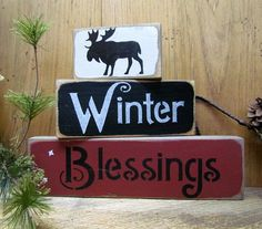 "These stackable wooden signs measure 9"" Long 6"" Long and 4"" Long. They look great on a shelf or window sill. All of our signs are painted, stenciled, sanded and stained by hand. Due to our distressing"