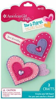 "American Girl Crafts Sew and Shares, Hearts by EKSuccess. $5.88. Sew easy felt hearts, tuck in a cute note and share it with a friend and keep one for yourself. Finished size: 2.75"" x 3.0"". Kit includes: Idea booklet, illustrated instructions, felt, needle, needle threader, pin backs, 1 gift box and other assorted pieces. For ages 8 and above. From the Manufacturer                Make a mini craft that sends a heartfelt message. With American Girl crafts Sew and sh..."
