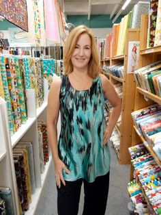 Suzan in her tank from Vogue 1355 pattern by Sandra Betzina. #V1355 #top