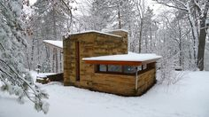 Frank Lloyd Wright loveliness!  880 sq. ft., showing that a master can also appreciate and design small. Follow the link to a great article on the Seth Peterson Cottage.