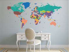 World Map Vinyl Wall Sticker Time zones Clocks and Wall clocks