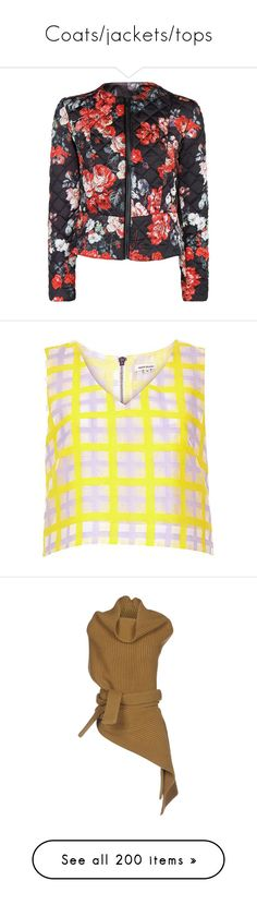 """Coats/jackets/tops"" by bliznec-anna ❤ liked on Polyvore featuring tops, shirts, checkered shirt, sleeveless crop top, cropped shirts, sleeveless shirts, yellow checkered shirt, cardigans, sweaters and outerwear"