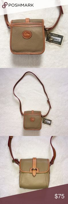 Dooney & Bourke All Weather Leather Cross-Body Bag Brand new all weather leather bag by Dooney & Bourke. Perfect crossbody for a woman on the go! Toss in your necessities, adjust the strap to fit your body and you are ready for the day! Outside is a dark tan/taupe color with brown accents. Bag has never been used! Contains original packing and tags. *Note, only time I've opened this bag is for pics! It looks as though some sort of ink has bled onto the inside of bag. This must have occurred…