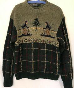 3fb6d7cf Vintage Polo Ralph Lauren Men's size Medium Lambswool Ski Sweater Hand Knit  #PoloRalphLauren #Crewneck