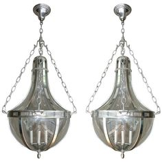 Pair of Silver Plated Lanterns | 1stdibs.com