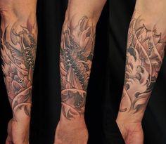 Chronic Ink Tattoo - Toronto Tattoo  Koi fish and lotus flower tattoo done by Marilyn.