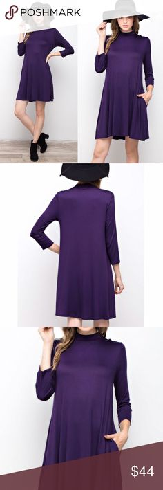"""La Nite"" Mock Neck Pocket Dress (Purple) Such a gorgeous rich purple color! This dress is made out of Premium Fabric that is buttery soft and comfy. Trendy mock neck. Long sleeves. Looks super chic pairing with ankle boots or long boots. You can wear it with leggings during colder weather. Also looks so cute with a jacket or cardigan! * Also available in color Olive. * Material: 96% Modal, 4% Spandex. - Modal fabric: luxuriously soft, absorbent & breathable, stable & resists pilling…"