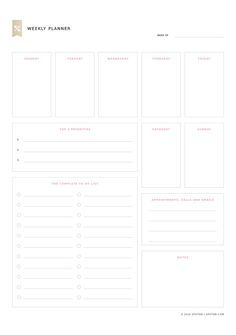 Smart goal action plan template pinteres get a weekly overview of your life with this free printable template set your top pronofoot35fo Choice Image