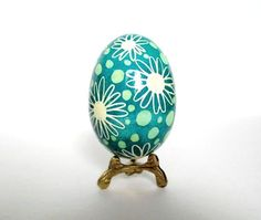 Mint Green Pysanka  Ukrainian Easter egg, hand painted chicken egg shell