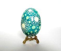 Mint Green Pysanka  Ukrainian Easter egg, hand painted chicken egg shell