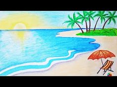 How to draw a scenery of sea beach Step by step (easy draw) Scenery Drawing Pencil, Easy Scenery Drawing, Landscape Drawing Easy, Nature Drawing For Kids, Art Drawings For Kids, Easy Drawings, Easy Drawing For Kids, Easy Nature Drawings, Nature Paintings