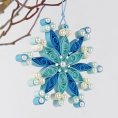 Christmas Blue winter quilling Quilling snowflake