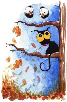 Original watercolor painting whimsical crow Stressie cat seasonal autumn Fall #IllustrationArt