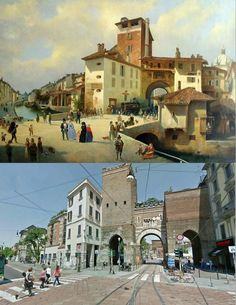 Porta Ticinese or Porta Cica on the 1860 and now