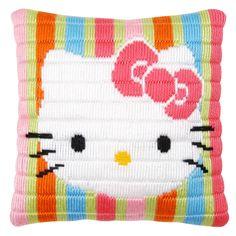 NEW: 25 x 25 cm Hello Kitty Long Stitch Cushion by Vervaco  - exclusive!  #HelloKitty #longstitch #Vervaco #cushion