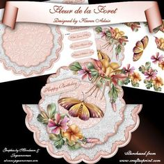 """Fleur de la Foret Scallop Wobble Card Mini Kit on Craftsuprint designed by Karen Adair - This two sheet mini-kit will make this beautiful, large scallop wobble card. The kit contains a card, approximately 8""""in diameter, and plenty of decoupage. The kit also includes 8 sentiment tags, one of which I have left blank so that you can personalise if you wish. If you like this check out my other designs, just click on my name. - Now available for download!"""