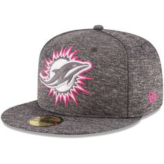 98ece05305e Men s New Era Heather Gray Miami Dolphins 2016 Breast Cancer Awareness  Sideline 59FIFTY Fitted Hat