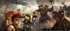 Age of Sigmar Artwork | Khorne Bloodbound vs Stormcast Eternals and Fyreslayers…