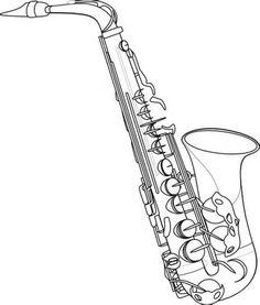 Saxophone Outline Clip Art at Clker.com - vector clip art online ...
