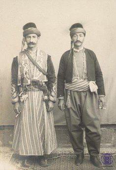 Kurdish men, Urfa, 1900, from http://kurdistania.tumblr.com proptype costume for Fae clothing, tunic shorter.