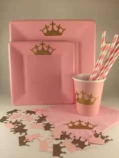PARTY PACK... Princess Birthday Party Pink and Gold by TheTackyNut
