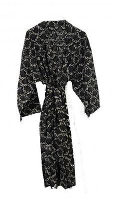 Håndprintet blomstret kimono. Fremstillet under etiske forhold i Indien.
