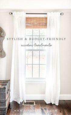 Stylish Budget Window Treatments | Attractive and stylish window treatments don't have to break the bank. Get the look of custom treatments on a budget! #curtains #windows #farmhousediy