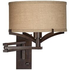 "Tremont Bronze Metal Swing Arm Wall Lamp -   99  Lamps Plus  Plug In/Dimmer 16"" H 12"" Shade"