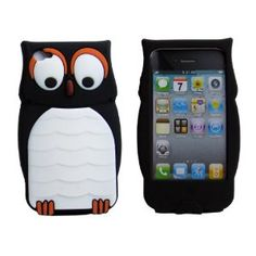 Owl Designs Cute Cartoon Silicone Case Back Cover Skin for Apple iPhone 4 4S Black