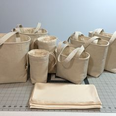 Just finished a custom Mason jar bag order I wanted to share. I had a request for an assortment of bags in a hemp/organic cotton blend, lined with unbleached muslin. The fabric, and the customer, were wonderful to work with!