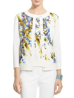 Floral Viscose Cashmere Blend Knit Cardigan