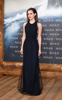 WHO: Emma Watson WHAT: Wes Gordon dress, Ana Khouri earrings WHERE: Noah premiere, Berlin WHEN: March 13, 2014