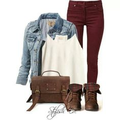 Burgundy skinny jeans and combat boots