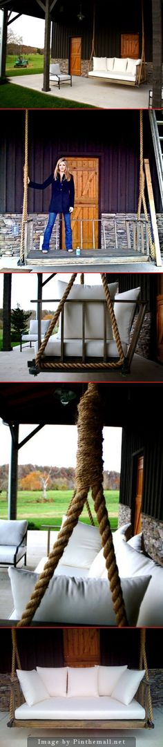 Porch swing. Rope source: Christian's Fitness Factory.