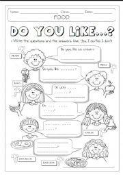 English worksheet: DO YOU LIKE + FOOD  1/2
