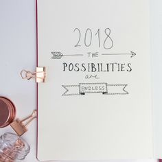 2018 the possibilites are endless bullet journal quote cover page quote