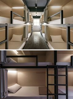 This modern hostel in Bangkok has rooms that are set up in a bunk bed arrangement, with each bunk having their own curtain and reading lamp. Bunk Bed Rooms, Girls Bunk Beds, Small Rooms, Small Spaces, Double Deck Bed, Dormitory Room, Capsule Hotel, Bunk Bed Designs, Bangkok Thailand