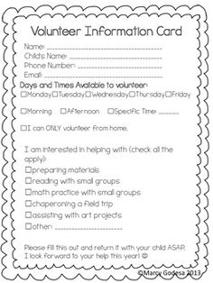 This parent volunteering sheet can be given out to parents at open house. The parents can quickly check what they would be interested in helping with.
