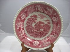 You are looking at a 10 inch dinner plate in the PINK ENGLISH SCENIC pattern. They made three different kinds of this pattern. This one is