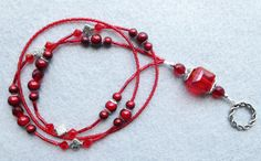 Rosetta  beaded lanyard  red and crimson glass by llanywynns, $16.00