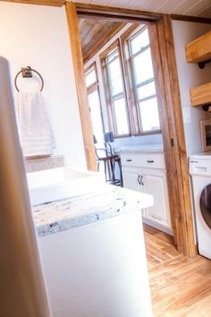 This is the Teton Tiny House on wheels that's for sale built by Alpine Tiny Homes and you're invited to come on in for the full tour inside! Bathroom Layout, Tiny House On Wheels, Tiny Homes, Bathtub, Houses, Storage, Cabins, Building, Furniture
